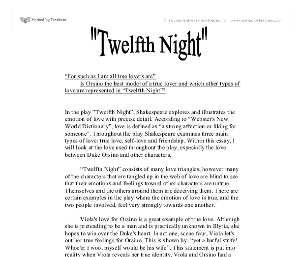 twelfth night essays on love