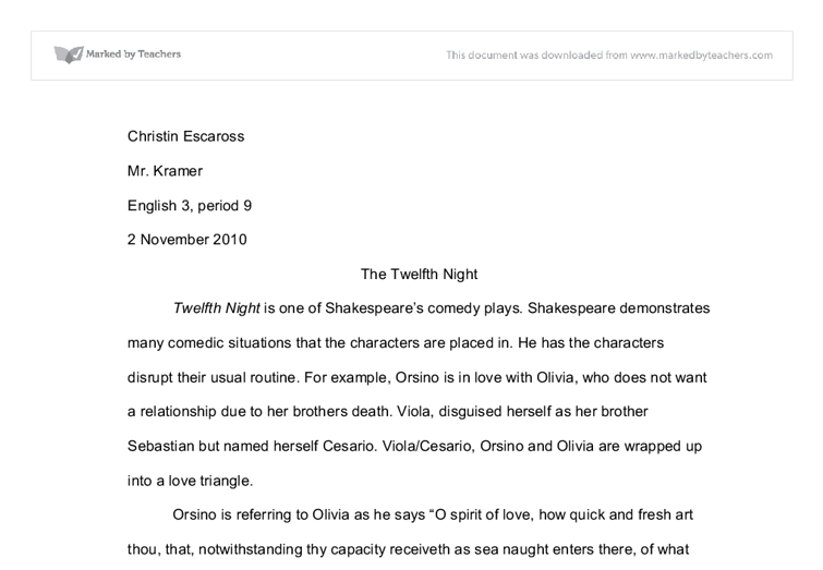 What is a good thesis statement for twelfth night?