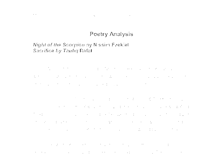 Comparative Close Reading Poetry Analysis: