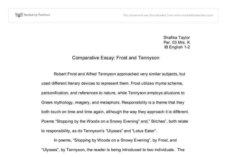 comparative essay frost and tennyson a level english marked  document image preview