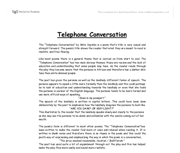 telephone conversation by wole soyinka analysis essays