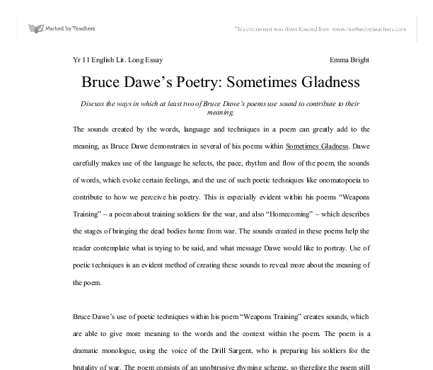 bruce dawe s poetry sometimes gladness discuss the ways in  document image preview