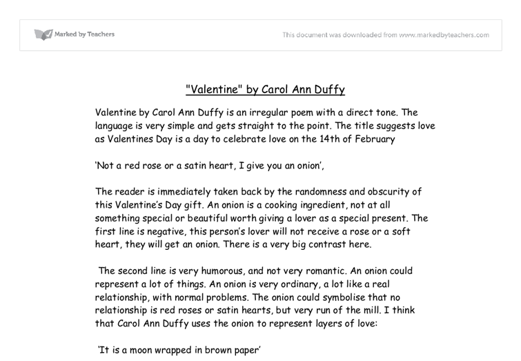 carol ann duffy valentine essay conclusion Carol ann duffy is one of britain's most famous poets she was born in glasgow  and raised in england from the age of seven, where, even from a young age.