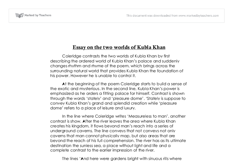 coleridge contrasts the two worlds of kubla khan by first  document image preview