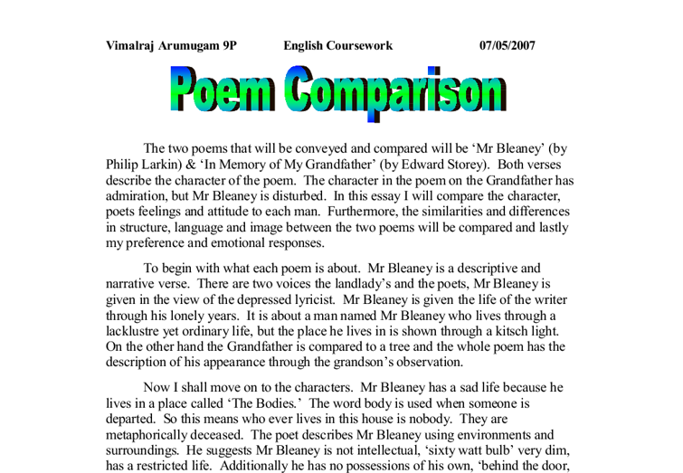 mr bleaney essay Making comment on the poetic devices used to create an atmosphere of existential despair the poem mr bleaney by philip larkin was written in 1955, when.