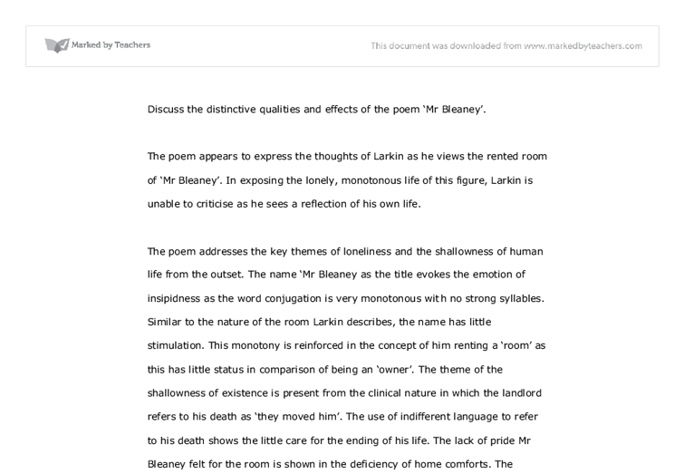 poem mr bleaney philip larkin analysed full Mr bleaney analysis philip larkin critical analysis of poem, review school overview analysis of the poem literary terms definition terms why did he use short.