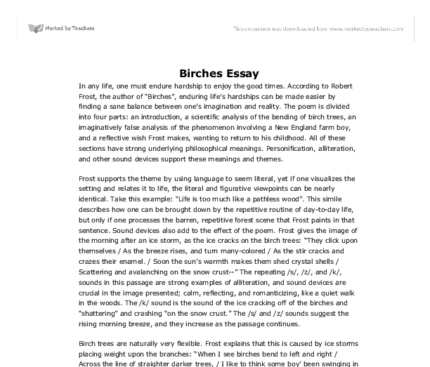 essays on the poem birches Robert frost is a very well known american poet, and what would be better then reviewing one of his famous poems birches takes us away from the woods of new hampshire (which are typical of.