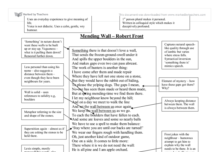 the essay of robert frost mending wall Introduction in its explicit narration, the poem simply describes the regular work restoration of walls between two neighbors that basically delineates their properties each is consistently fixing their walls warily even if one stone is missing however in such a simple scenario, the poems also posts deeper issues.