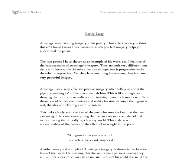 poetry essay a level english marked by teachers com document image preview