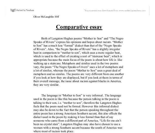 Comparison essay poems