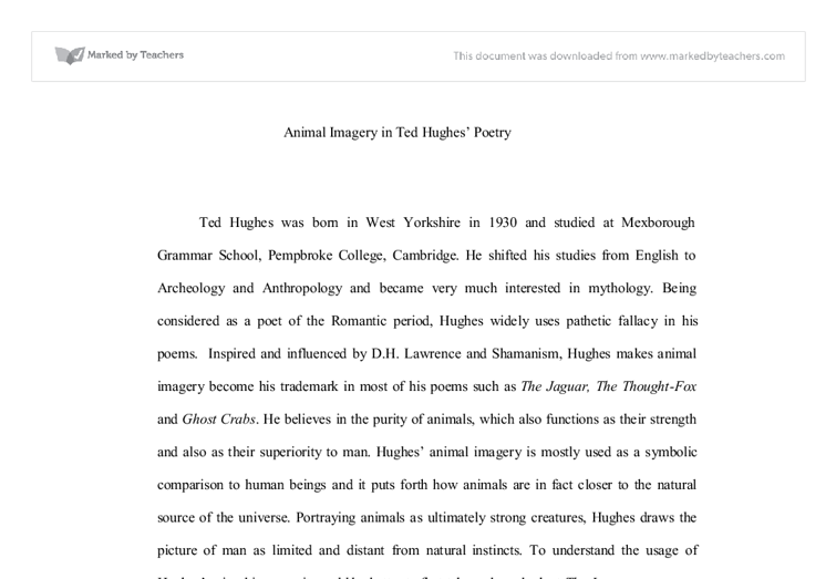 the jaguar poetry analysis Browse through ted hughes's poems and quotes 29 poems of ted hughes still i rise, the road not taken, if you forget me, dreams, annabel lee ted hughes is.