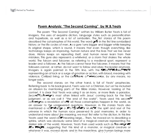 poem analysis the second coming by w b yeats a level english document image preview
