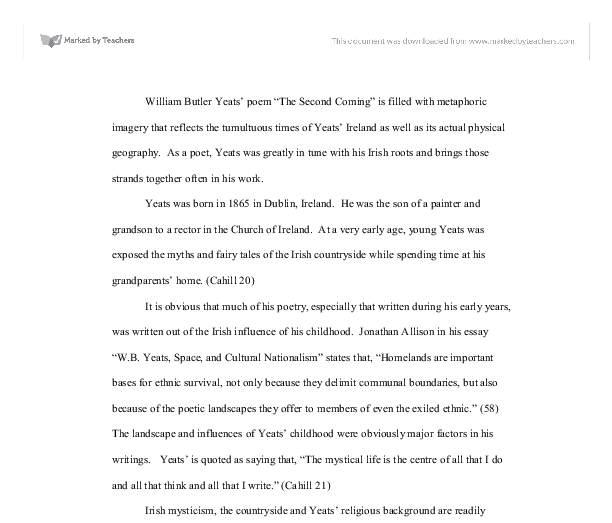 yeats analysis essay the influential nature of his writing essay