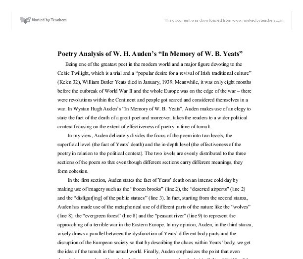 poetry analysis of w h auden s in memory of w b yeats a  document image preview