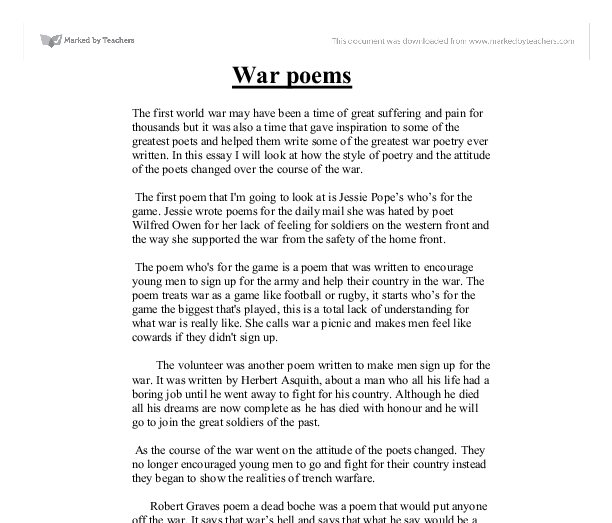 world war one poetry a level english marked by teachers com document image preview