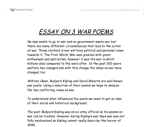 English Essay On War Poems War Poetry Essays Examples