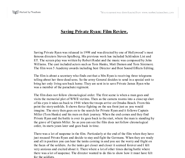 saving private ryan film review a level english marked by  document image preview