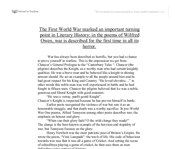 the first world war marked an important turning point in literary history essay Tough gcse topics broken down and explained by out team of expert teachers learn more essay writing guide  marked by teachers essays 1337.