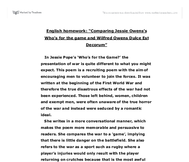 compare the ways jessie pope and One example of this is who's for the game by jessie pope, written in 1916  however, after world war 1, poems were written that contradicted the earlier  poems.