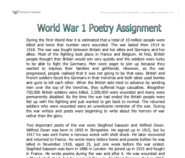 war poetry essays An essay or paper on the war poetry comparing and contrasting the poems we have read, show how they convey the thoughts of the poets and their reasons for writing.