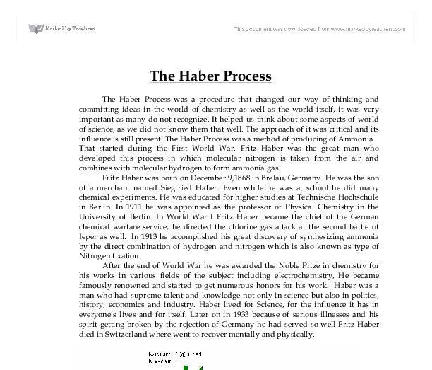 haber process essay Essay on the haber bosh process and the importance of making ammonia 608 words | 3 pages important in sustaining human, plant and animal life they produce, refine.