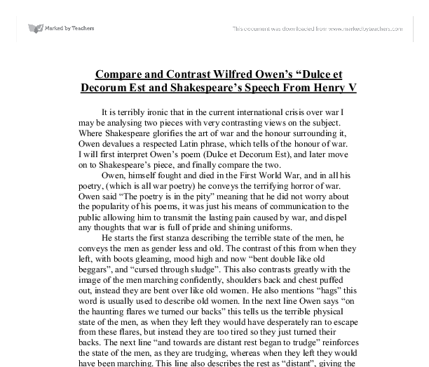 comparison of dulce and decorum est A secondary school revision resource for gcse english literature about the context, language and ideas in wilfred owen's dulce et decorum est.