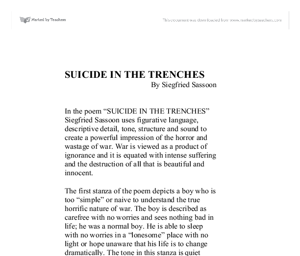siegfried sassoon suicide in the trenches essay