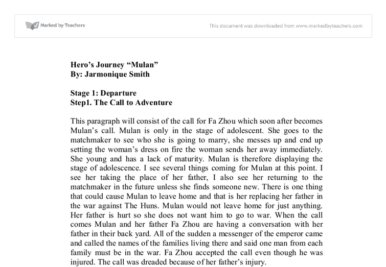 hero's journey essay
