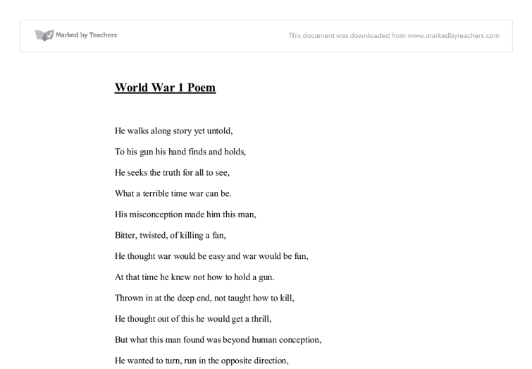 Poems About World War 1