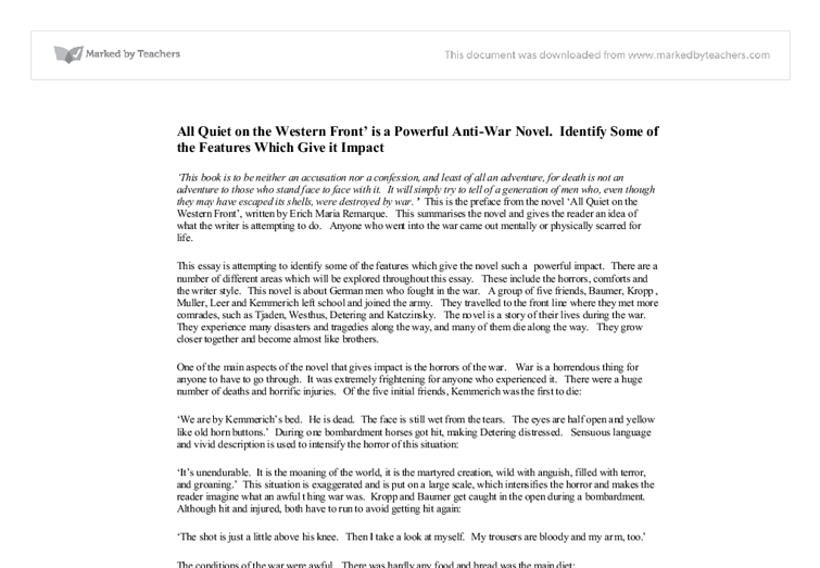 all quiet on the western front sparknotes pdf