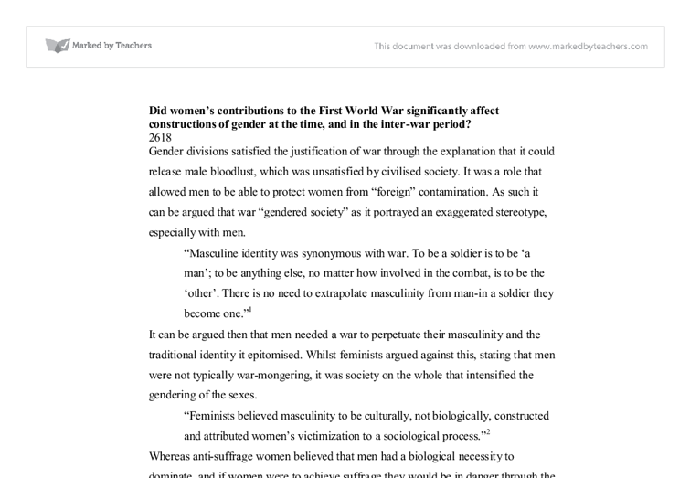 womens contributions to the first world war significantly affect constructions of gender essay 01102010  what race were the greeks and romans  who lived in the first  likewise few will be surprised that the learned scholar behind the present essay will.