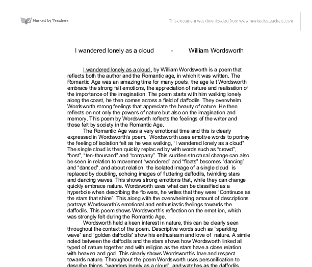 i wandered lonely as a cloud william wordsworth review a  document image preview