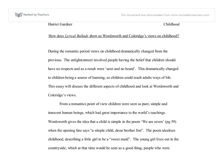 the presentation of childhood in lyrical ballads a level english  document image preview