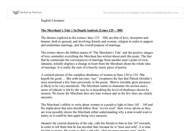 the merchants tale essay An analysis of may's manipulation in the merchant's tale by geoffrey chaucer pages 3 sign up to view the rest of the essay.