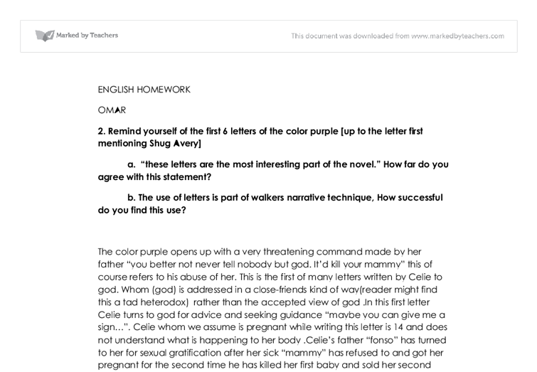critical analysis essay the color purple All nonfiction bullying books academic author interviews celebrity interviews college articles college essays educator of literary criticism: the color purple.
