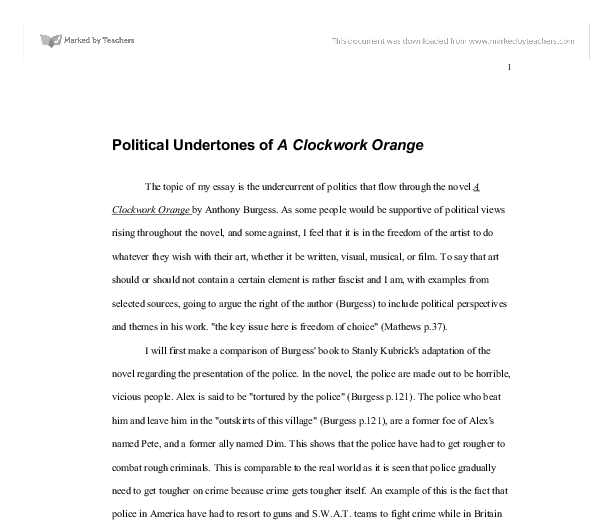political undertones of a clockwork orange a level english  document image preview
