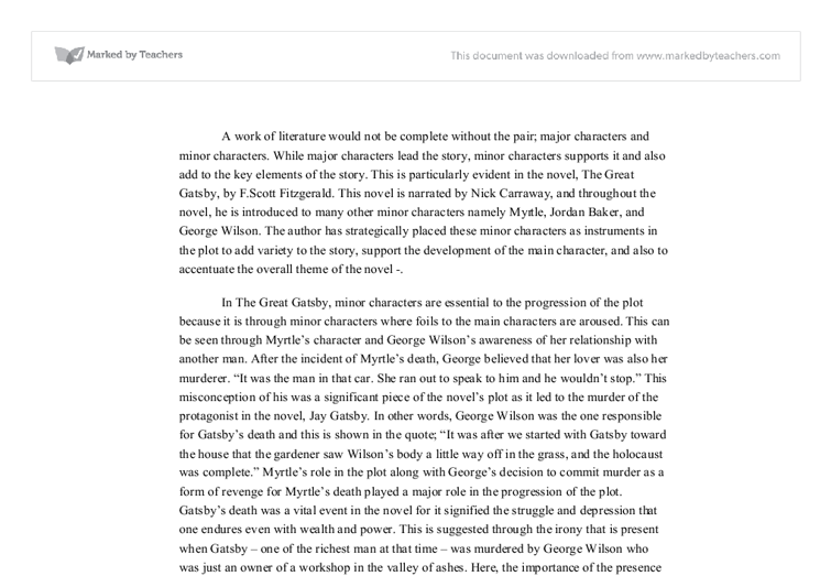 The Role Of Minor Characters In The Novel The Great Gatsby  A  Document Image Preview