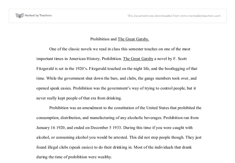 Essay Topics For The Great Gatsby  Underfontanacountryinncom Essay Questions For The Great Gatsby Prohibition And The Great