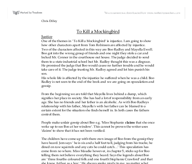 essay on to kill a mockingbird justice As a lawyer in to kill a mockingbird, atticus finch represents everything that  someone working in the justice system should  other essays and articles on  more literary topics can be found in the literature archives at.