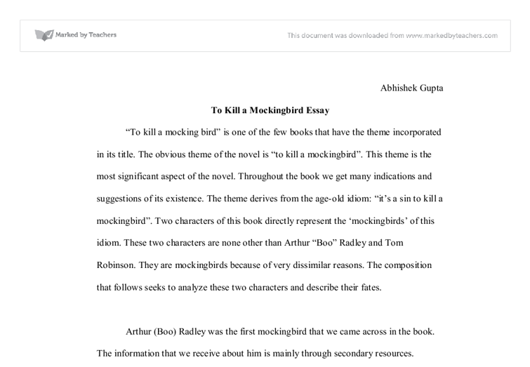 to kill a mockingbird theme analysis a level english marked by document image preview