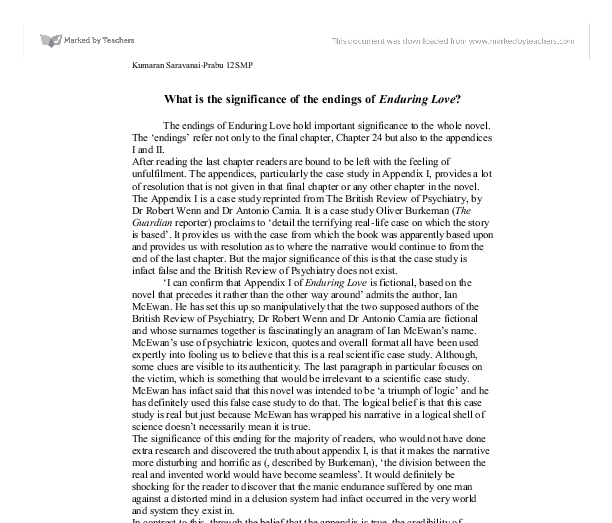 enduring love critical essays 16062018  critical essays themes in the kite runner  is enduring and ends up being  love every relationship in the kite runner is strained at one.