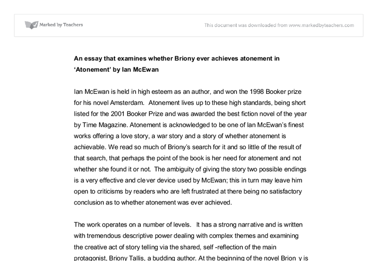 atonement ian mcewan essay How to cite this paper: han, j and wang, p (2015) the experimental techniques in ian mcewan's open atonement journal of social sciences, 3.