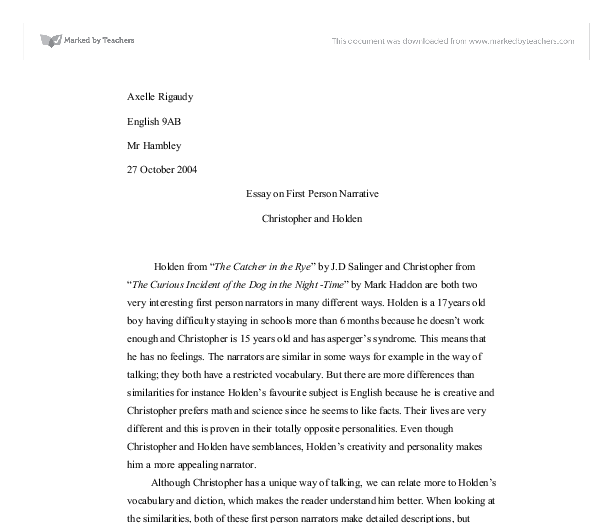 essay on first person narrative christopher and holden a level document image preview