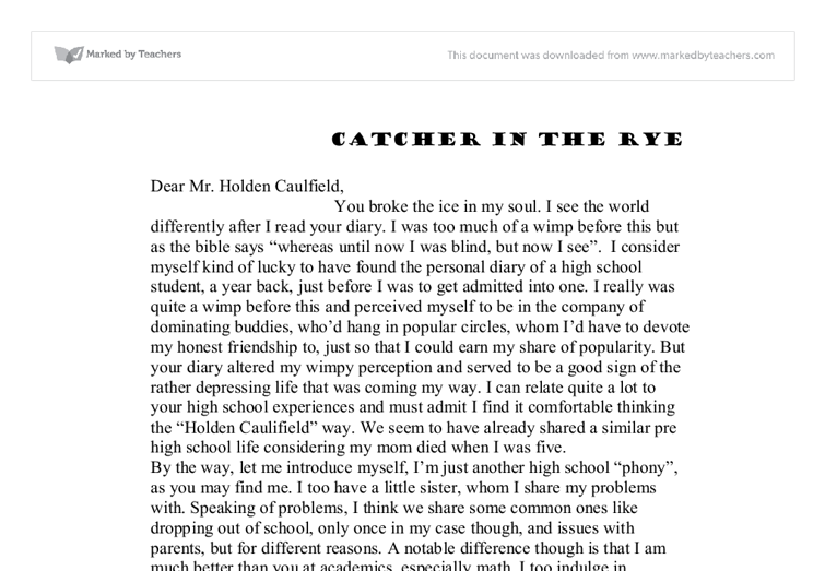 a letter to holden caulfield a level english marked by  document image preview