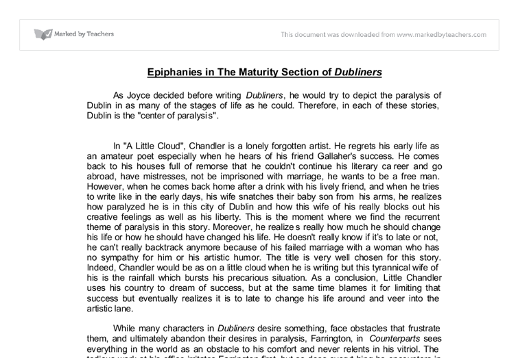 epiphanies in dubliners essay Words: 2686 length: 8 pages document type: essay paper #: 77228182 james joyce -- a mother hat was the social scene in dublin at the time james joyce wrote the dubliners and in particular his iconic short story a mother -- one of the most debated tales in the dubliners.
