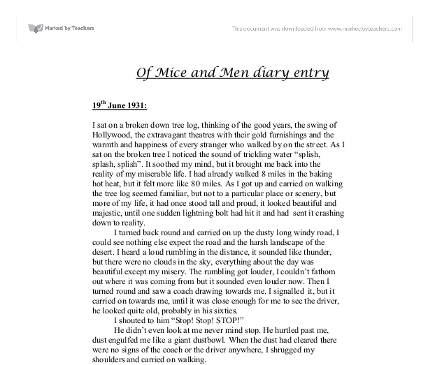 of mice and men diary entry a level english marked by teachers com document image preview