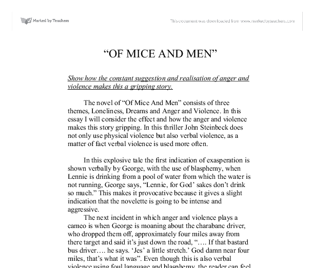 of mice and men show how the constant suggestion and realisation  document image preview