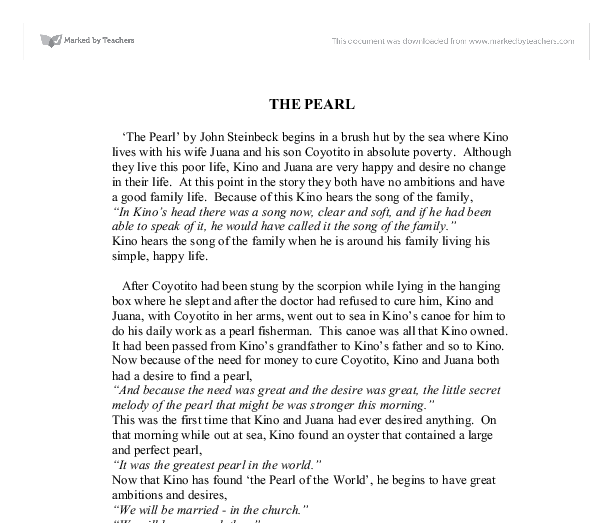 the pearl by john steinbeck a level english marked by  document image preview
