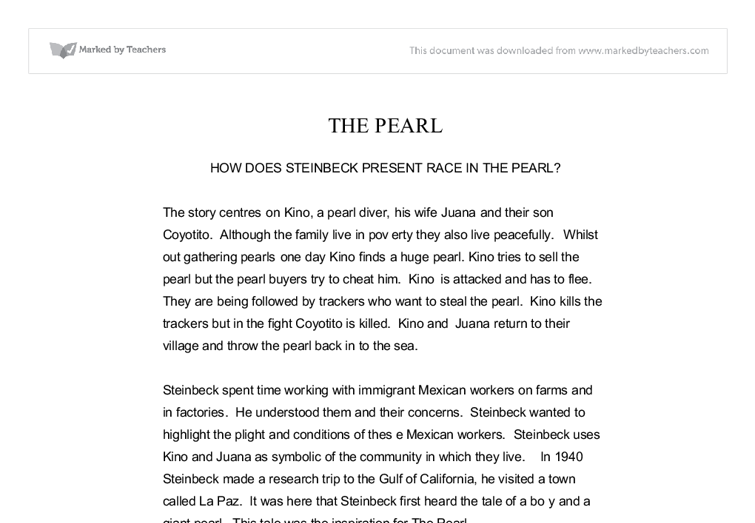 how does steinbeck present race in the pearl a level english  document image preview