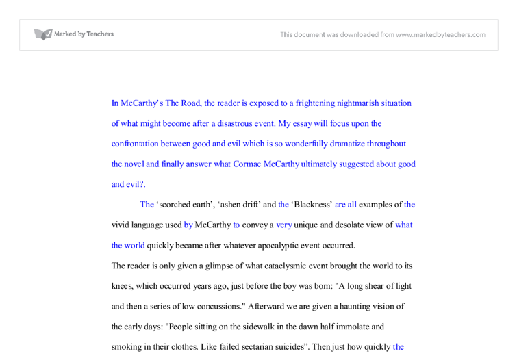 cormac mccarthy the road a level english marked by teachers com document image preview
